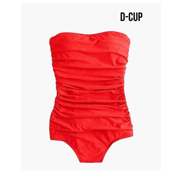 606a5bfca9721 J. Crew Swim   J Crew D Cup Ruched Bandeau One Piece Suit   Poshmark